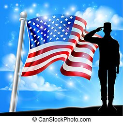 Saluting Soldier Patriotic American Flag Design
