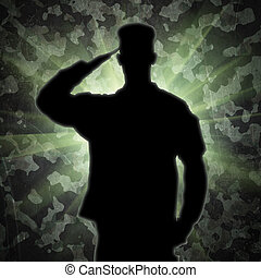 Saluting soldier's silhouette on an army camouflage ...