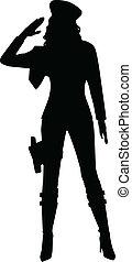 saluting, vrouw, silhouette, militair
