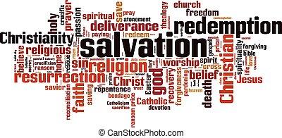salvação, palavra, nuvem