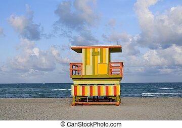 salva-vidas, casas, em, praia miami