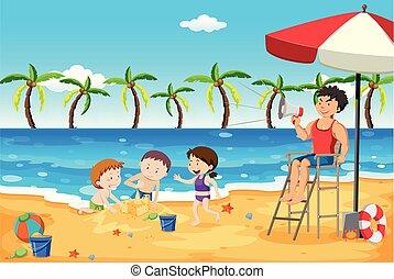salva-vidas, crianças, praia, cuidarde