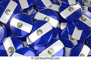Salvador Badges Background - Pile of Salvadoran Flag Buttons.