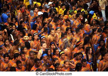 SALVADOR, BRAZIL - FEB 19:Brazilian people celebrates ...