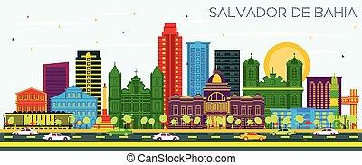 Salvador de Bahia Brazil City Skyline with Color Buildings ...