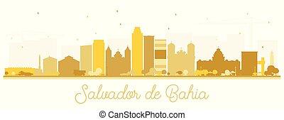 Salvador de Bahia City Skyline Silhouette with Golden ...