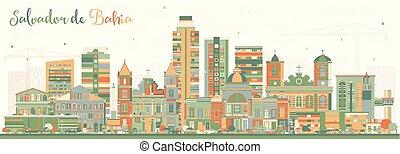 Salvador de Bahia City Skyline with Color Buildings. Vector ...