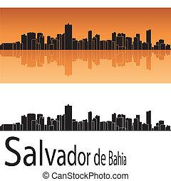 Salvador de Bahia skyline in orange background in editable...
