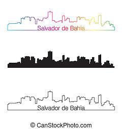 Salvador de Bahia skyline linear style with rainbow in ...
