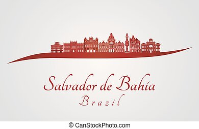 Salvador de Bahia V2 skyline in red and gray background in ...