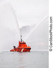 Salvage tugboat on the sea