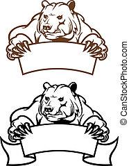 salvaje, bandera, oso de kodiak