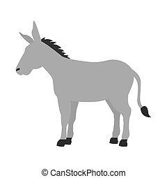 salvaje, burro, vida, animal, caricatura