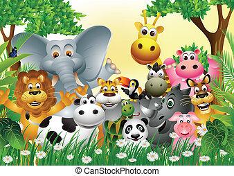 salvaje, caricatura, animal