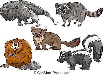 salvaje, conjunto, animales, caricatura, ilustración