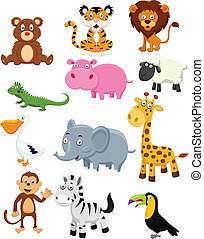 salvaje, conjunto, caricatura, animal, colección