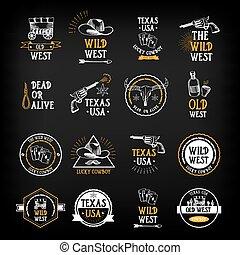salvaje, design., oeste, elements., vector, insignias, ...