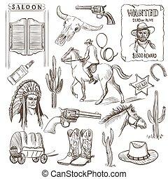 salvaje, dibujado, mano, colección, oeste