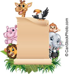 salvaje, divertido, áfrica, caricatura, animal
