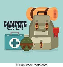 salvaje, equipo, vida, campamento