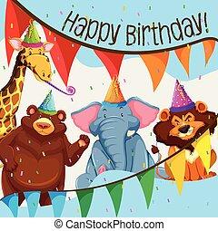 salvaje, fiesta, cumpleaños, animal