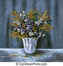 salvaje, flores blancas, florero