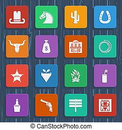salvaje, icons.vector, pictograms, vaquero, oeste