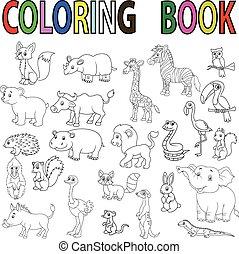 salvaje, libro colorear, caricatura, animal