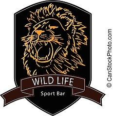 salvaje, logotipo, león, vida