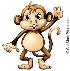 salvaje, mono, con, entregue arriba