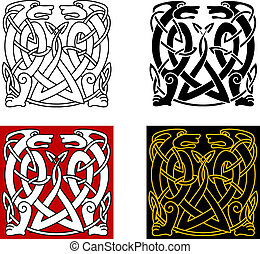 salvaje, ornamento, celta, antiguo, animales