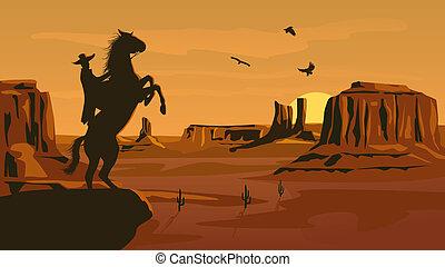 salvaje, pradera, west., ilustración