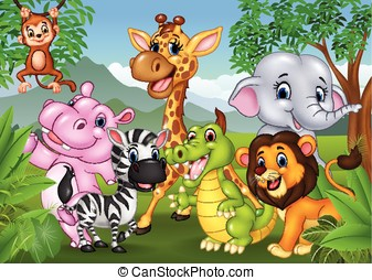salvaje, selva, animal, caricatura