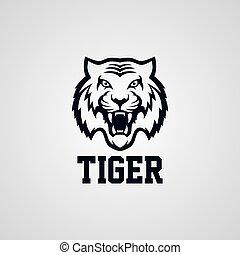 salvaje, tigre, logotype, tema