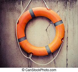salvamento água, emergência, equipment., laranja, lifebuoy, tudo