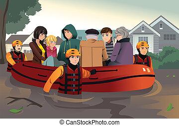 salvamento, pessoas, ajudando, equipe, durante, inundação