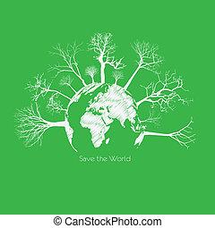 salvar, árvore, secos, globe., terra