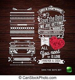 salvar, a, data, para, seu, pessoal, holiday., tipografia, desenho, jogo, de, borda, padrões, e, symbols.