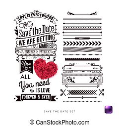 salvar, a, data, para, seu, pessoal, holiday., tipografia, design.