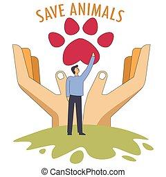salvar, animais, símbolo, de, salvar, animais estimação,...
