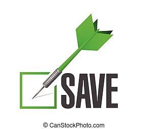 salvar, confira mark, dardo, ilustração
