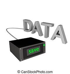 salvar, dados, 3d