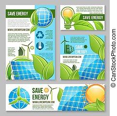 salvar, energia, negócio, bandeira, modelo, desenho