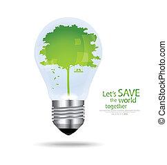 salvar, mundo, bulbo leve, com, árvore, interior., vetorial,...