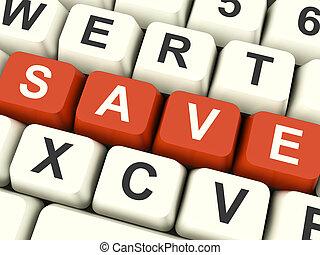 salvar, teclas computador, como, símbolo, para, descontos,...