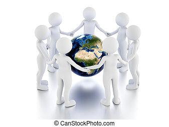 salvar, terra, concept., toon, homens, proteja, globo, em, um, circle.