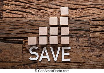 salvar, texto, por, aumento, gráfico de barras, blocos, ligado, madeira