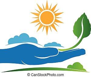 salvar, um, planta, em, natureza, logo., vetorial, projeto gráfico