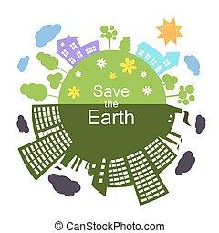 salvar, vetorial, terra, ilustração