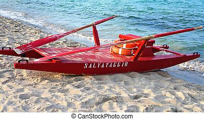 salvataggio, spiaggia, mondello, palermo, barca, rosso, sicilia